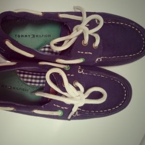 Tommy Hilfiger navy blue canvas boat shoes size 3